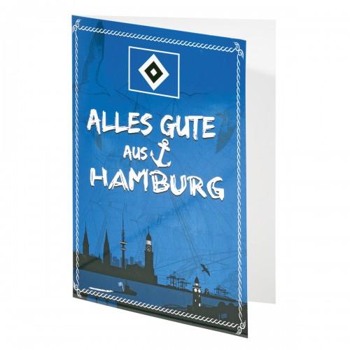 HSV Grußkarte ' Alles Gute aus Hamburg' Neu